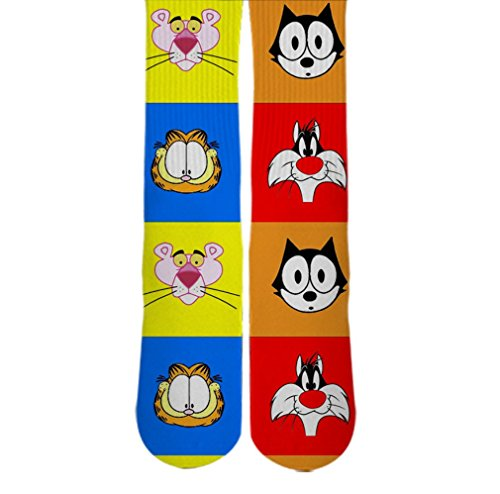 DopeSox Men's Cat Cartoon Socks One Size (6-12) White
