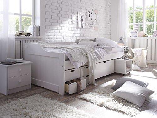 Kinderbett Funktionsbett 90x200, CRAVOG Weiß lackiert Massivholz Holzbett Bettkasten mit 5 Schubladen für Kinder