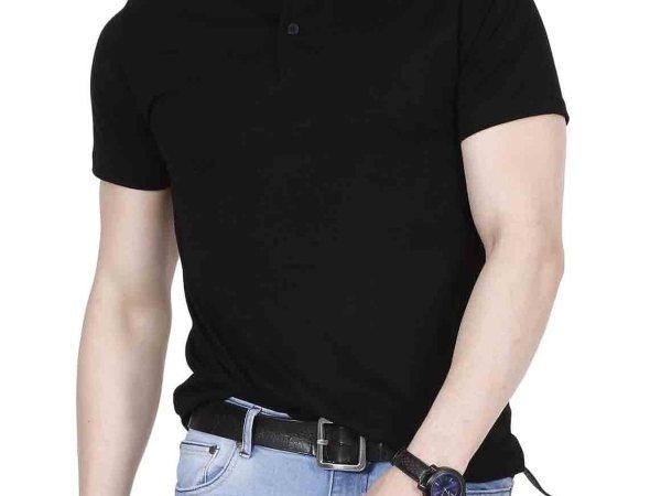 Fanideaz Men's Cotton Henley Half sleeve tshirts for Men(Premium Black Henley tshirt)