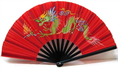 Chinese Nylon-Cloth Dragon Fan in Brilliant Red or Black Simple Colors: Red