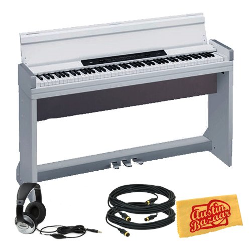 Korg LP350 Digital Piano Bundle with Two 10-Foot MIDI Cables, Headphones, and Polishing Cloth - White