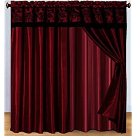 3 Layer Modern Flock Satin Black Burgundy Red Faux Silk Curtain Set With Attached Valance And