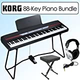 Korg SP250 Portable 88 Key Digital Piano With Keyboard Stand Bundle & Bench; Headphones;