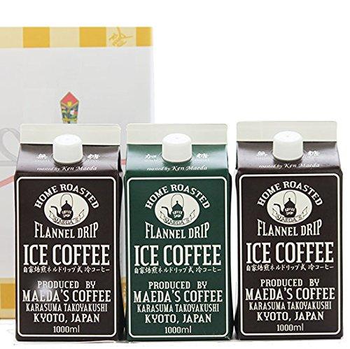 前田珈琲 ネルドリップ リキッドコーヒー アイスコーヒー 3本 ギフト セット (加糖3本)