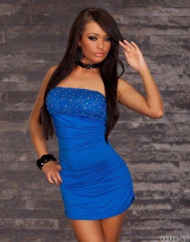 Minikleid Bandeau Abendkleid enganliegendes Cocktailkleid Stretch Spitze Strass blau