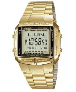 CASIO Collection DB-360GN-9AEF - Reloj de caballero de cuarzo, correa de resina color oro (con cronómetro, alarma, luz)