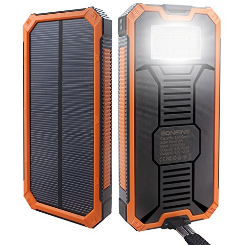 Eonfine-正規品 15000mAh 大容量ソーラーチャージャー モバイルバッテリー 緊急防災用 SOS機能付き LEDライト付き 旅行 キャンプの良品 iPhone iPad iPod Xperia Galaxy Nexus等対応 2USBポート 二つの充電方法 ソーラー パワーバンク(オレンジブラック)