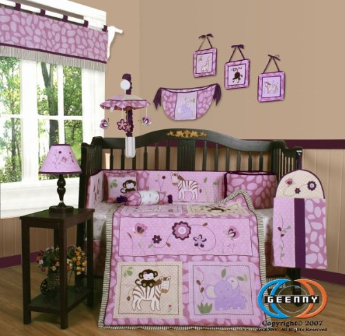Girls Monkey Crib Bedding