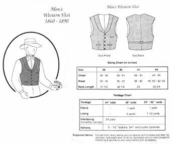 Amazon.com: 1860-1890 Men's Western Vest Pattern: Other