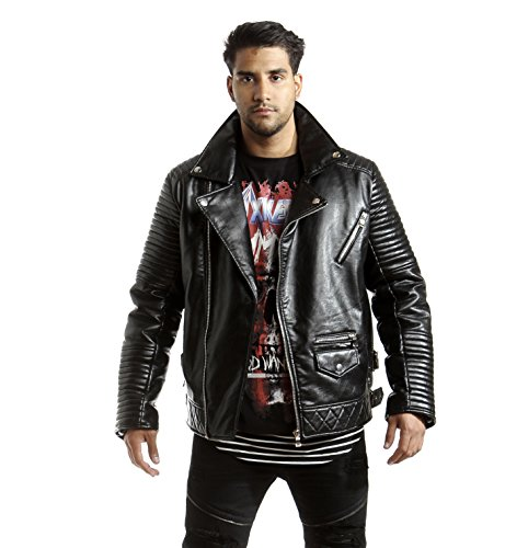 Smoke Rise Men's Vegan Leather Biker Jacket-Black-2XL