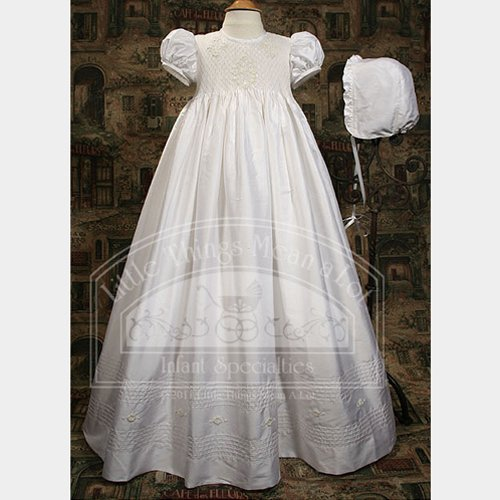 f08bacf6b3d4c Baby Girls White Silk Smocked Christening Outfit 6M | Baby Easter ...