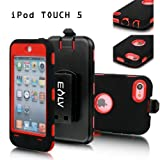 E-LV Full Protection Armor Defender Series Case shell with belt clip holster for iPod Touch 5 5th Generation (Red, Ipod Touch 5)