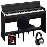 Korg LP-350 Black Digital Piano BUNDLE w/ Wood Bench & Headphones