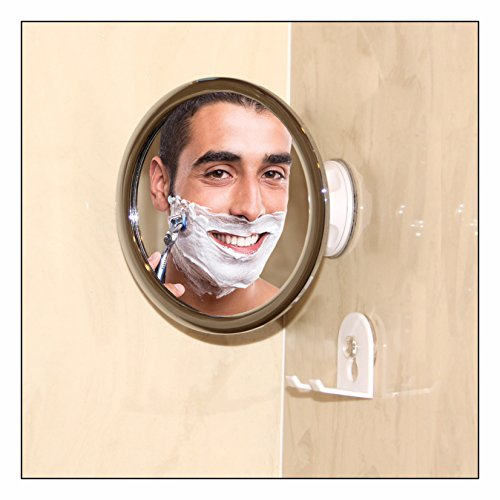 No Fog Shower Mirror with Rotating, Locking Suction; Bonus