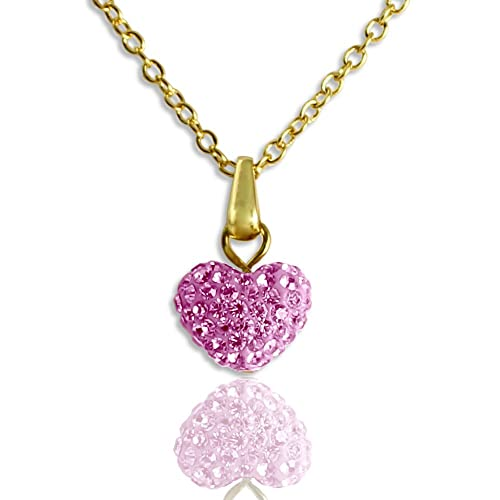 Pink Tourmaline Heart Pendant of Sparkling Crystal Shamballa on 18K GP 16 Inch Chain Necklace
