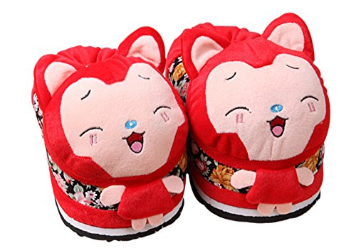 [Paws 'n' Claws] Cute Fuzzy Cartoon Animal Plush Slippers, Red Ali Fox