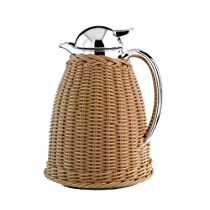 Alfi Albergo Beige Faux Wicker Thermal Carafe, 33-Ounce