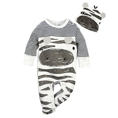 Big-Elephant-Baby-Boys-2-Pcs-Pajama-Romper-Sets-with-Hat-Grey-E14-3-6-Months