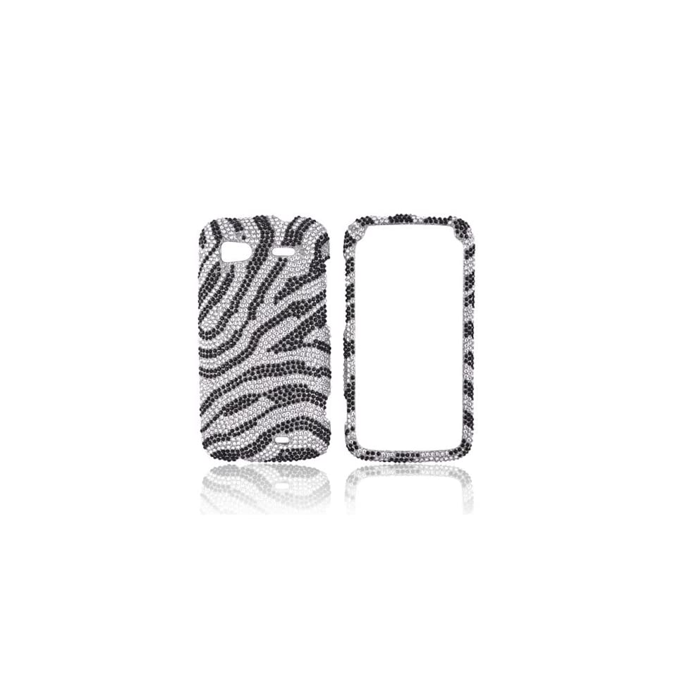 Black Zebra on Silver Gems Bling Hard Plastic Case Cover