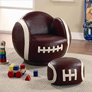 Small Kid's Football Swivel Chair and Ottoman Set