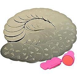 10 x Nailart Nail Art Stamping Metallplatten Schablonen Fingernagel 70 Mixed Designs mit Stamp & Scraper Tool von Boolavard® TM