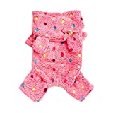 Urparcel Pet Dog Soft Warm Jumpsuit Coat Dot Bow Hoody Clothes Jacket Rose X-Small