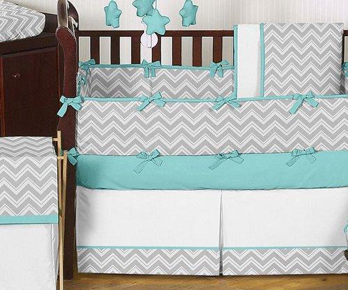 Turquoise & Gray Chevron Baby Bedding