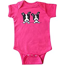 Inktastic Unisex Baby Boston Terriers (Dark Apparel) Infant Creeper by KiniArt 6 Months Hot Pink