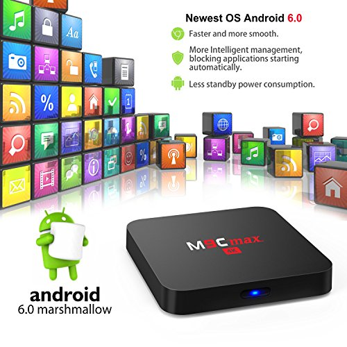 [S905X/2G/16G/4k] Bqeel M9C Max Android TV Box / Android 6.0.1 / Ultima Amlogic S905X Quad-Core CPU / Mali-450 Penta-Core GPU / 2GB SDRAM + 16GB eMMC (Espandibile) / KODI (XMBC) 16.1 Preinstallato / 4K / 2.4GHz WIFI / RJ45 / SPDIF / AV / USB / Micro SD / Streaming Media Player