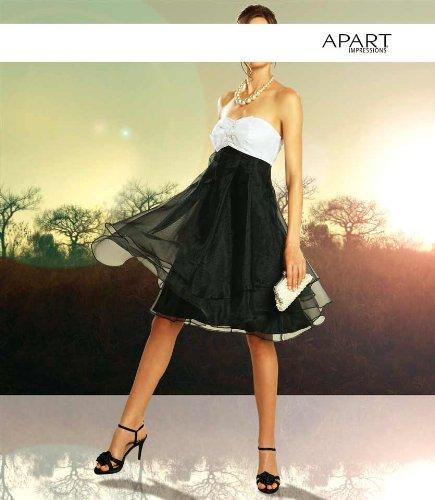 APART Damen-Kleid Organza-Corsagen-Kleid schwarz-weiß