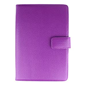 Bundle Monster Amazon Kindle 3 Ebook Genuine Leather Opening Case Cover Jacket with Interior Compartments - Fit 3rd Generation - Purple