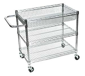 Amazon.com : Large 3 Shelf Mobile Chrome Wire Tub Cart