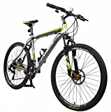 "Merax Finiss 26"" Aluminum 21 Speed Mountain Bike with Disc Brakes (Fashion Gray&Green)"