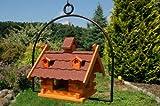 Vogelhaus mit Gauben Nr12 Dach rot und Bügel zum aufhängen von Vogelhaus, Nistkasten, Vogelhäuschen, Futterhaus, Vogelvilla und Vogelhäusern, feuerverzinkt und pulverbeschichtet, rostfrei, hängend