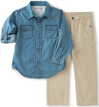 Calvin-Klein-Boys-Shirt-with-Two-Pockets-and-Twill-Pants-Set-Assorted-18-Months