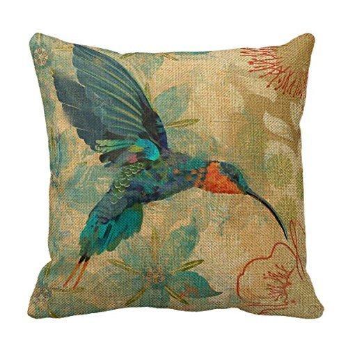 most durable sofa fabric for cats leather ottoman cotton linen square fashion blue orange hummingbird bird ...