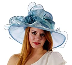 Sweet Tea Organza Derby Hat with Shimmering Bow, Light Blue