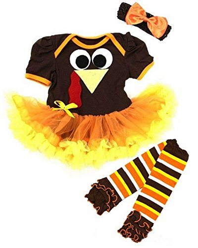 Kirei Sui Baby Thanksgiving Turkey Bodysuit Tutu Warmer X-Large Brown