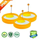 """Silivo 3.8"""" Silicone Egg Ring Nonstick Round Cooking Mold for Pancake Omelets and More -Orange (3-pack)"""