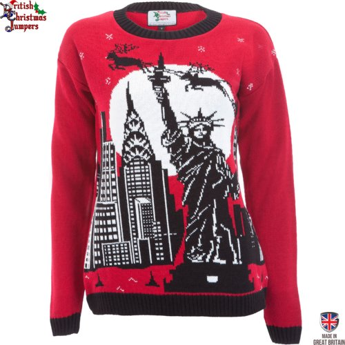 Christmas in New York - Womens Christmas Sweater by British Christmas Jumpers (MEDIUM (12 to 14))