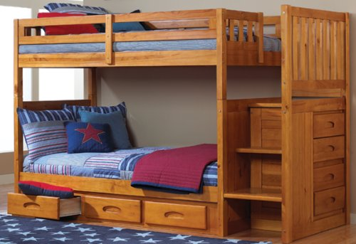 Daily Real Estate, Mortgage, Loans,(VIDEO Review) Mission Twin Over Twin Staircase Bunk Bed with 3 Drawers, Desk, Hutch and Chair in Honey Finish,