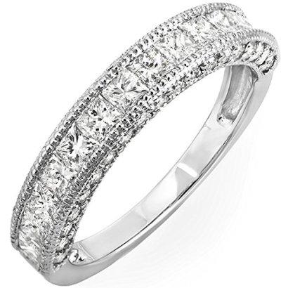 140-Carat-ctw-14K-White-Gold-Princess-Round-Diamond-Ladies-Wedding-Matching-Band-Ring-Size-45