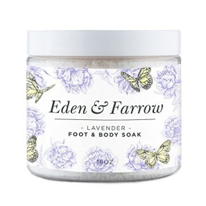 Lavender Foot Soak with Epsom Salt - For Feet and Body - Softens Nails, Soothes Sore, Tired Feet 16oz - Eden & Farrow