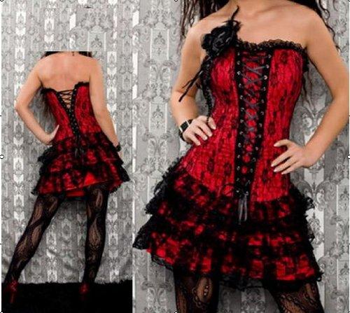 8123赤*コサージュ付バック編み上げコルセットドレス(3点入り)