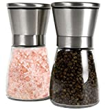Q's Inn Salt and Pepper Grinder Set - [Lifetime Warranty] Brushed Stainless Steel Salt & Pepper Mill with Glass Bottle - Adjustable Ceramic Rotor - Best 3.5in Shakers Pair for Fun and Healthy Cooking