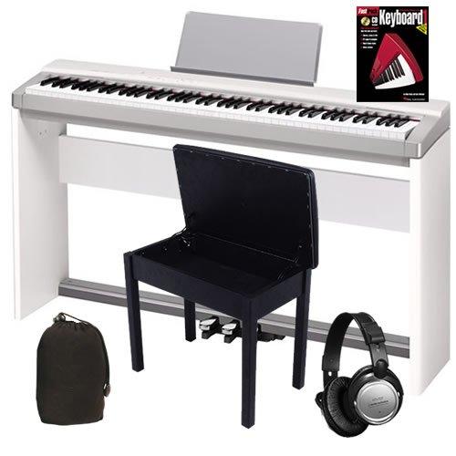 Casio PX-130 White Digital Piano COMPLETE BUNDLE w/ Stand, Pedal Board