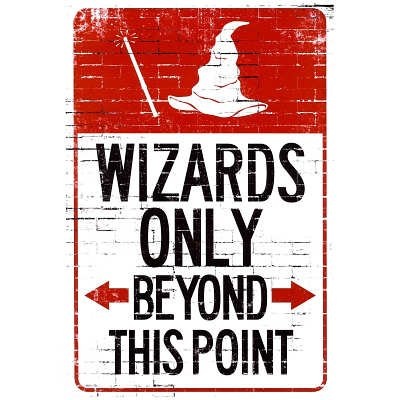 (13x19) Wizards Only Beyond This Point Sign Poster