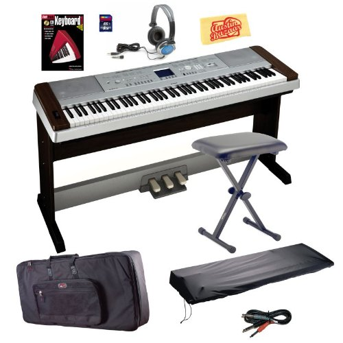 Yamaha DGX640W Digital Piano Bundle with Keyboard Bag, Bench, Dust Cover, 3-Pedal System, 8GB SD Card, Audio Cable, Headphones, Instructional Book, and Polishing Cloth - Walnut