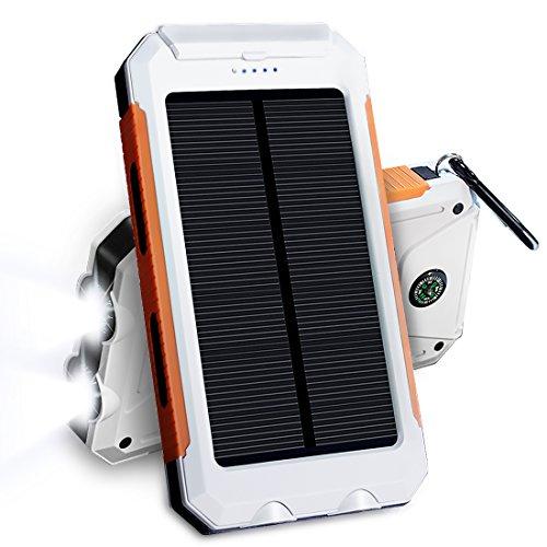 JETSUN 10000mAh 大容量ソーラーチャージャー モバイルバッテリー 2USBポート 羅針盤が付き 防水設計 二つの充電方法 旅行、キャンプの良品 iPhone / iPad / Nexus等対応 白