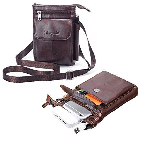 男性用 肩掛け レザー 財布 旅行かばん、iPhone / Samsung 用縦型ホルスター、ベルトループ付きの機能的なベルトパウチ、小ウエスト携帯かばん 褐色